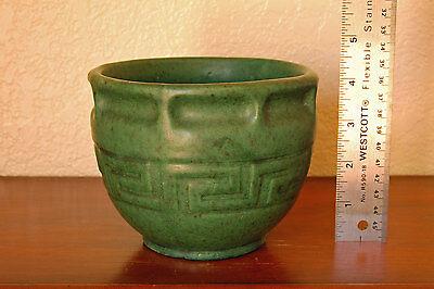 Stunning Antique Brush-McCoy Pottery Moss Green Ware Greek-Key Jardiniere