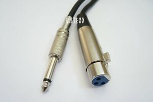 """XLR 3pin Female to 1//4/"""" Mono Plug Microphone Cable 6Ft 10Ft 15Ft 25Ft 50Ft v2"""