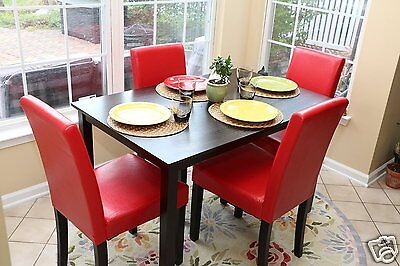 (5pc Espresso Dining Room Kitchen Set Table & 4 Red Parson Chairs 5 piece Dinette)
