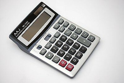 AAJ Brand New 12 Digit Desk Calculator Jumbo Large Buttons Solar Desktop Battery