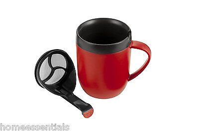Zyliss Hot Brew Mug Red Cafetiere Coffee Cup With Lid