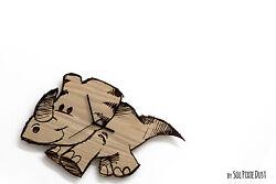 Cute Dinosaur 3 Engraved Wood - Kids Nursery Room, Baby Room - Wall Clock