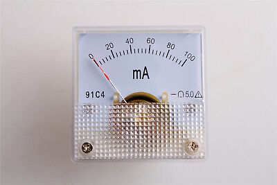 1pcs 91c4 Square Current Testing Panel Gauge Analog Ampere Meter Dc 0-100ma
