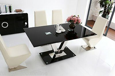 New FLORINI 'V' Gloss Chrome Black Metal/Glass 6 Seater Chairs Dining Table Only