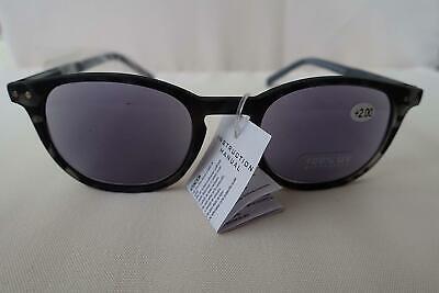 Sonnenlesebrille Sonnenbrille mit Sehstärke Federbügel Damen Herren 3,0 grau
