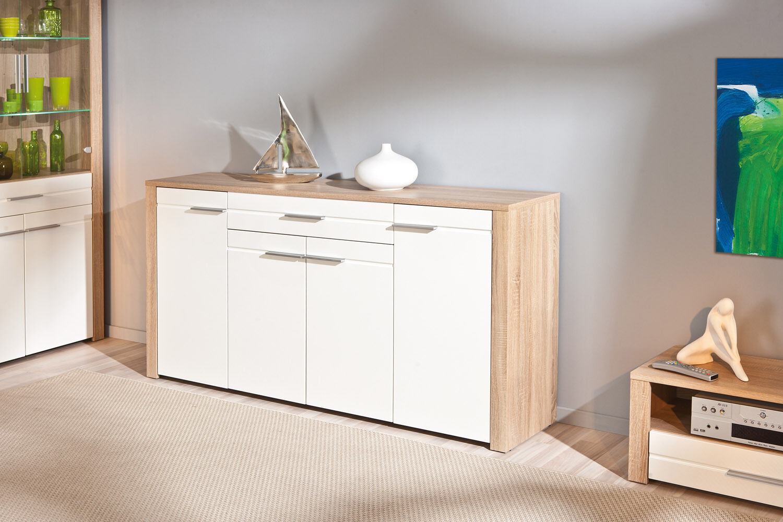 anrichte kommode diele wohnzimmer 4 t rig schublade sonoma eiche wei hochglanz eur 187 29. Black Bedroom Furniture Sets. Home Design Ideas