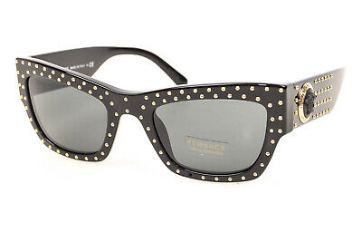 Versace 4358 black Medusa head logo studded rectangle frame sunglasses NEW $435