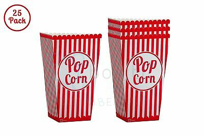 Red Paper Bags (Popcorn Bags 25 Pack Paper Red Popcorn Boxes for Birthdays and Carnival)