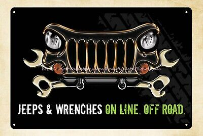 US SELLER-home furnishing stores jeep wrenches on line off road metal tin sign ()