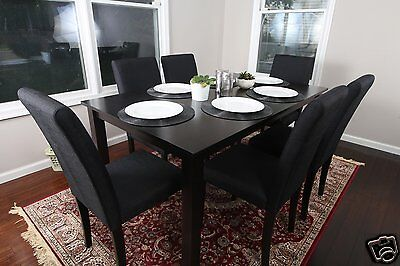 7pc Espresso Dining Room Kitchen Set Table 6 BLACK Fabric Parson Chairs 7 piece