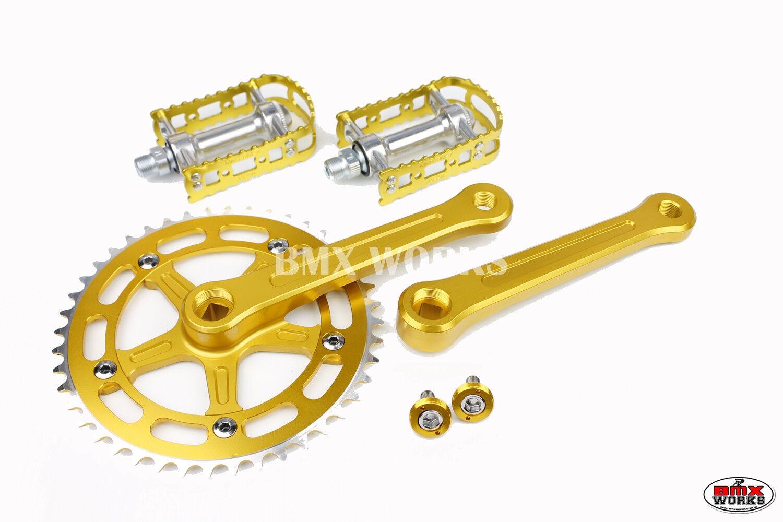 ProMX BMX 3 Piece Aluminium Cranks Set Gold /& MKS BM-7 Pedals /& Bottom Bracket