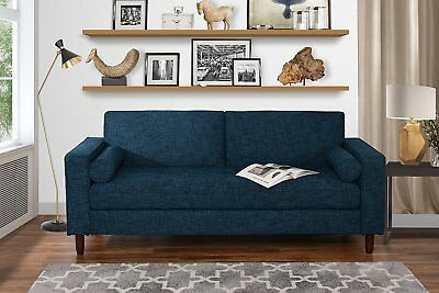 Modern Fabric Sofa with Tufted Linen Fabric - Living Room Couch (Dark Blue) ()