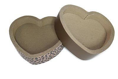 """14"""" Brown Pet Dogma Cat Scratcher Lounge and Bed Heart Shape Great Kitty Fun!"""