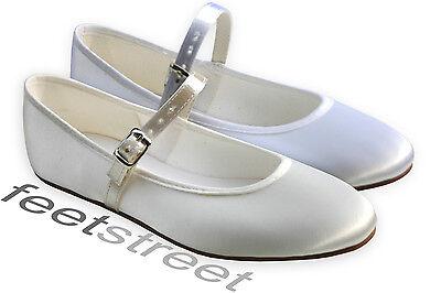 Ivory Or White Satin Bridesmaid Flower Girl Communion Shoes. Infant 5 ~ Adult 6  - Flower Girl Satin Schuhe