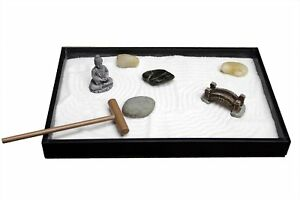 Table Top Sand Box Set Zen Garden Wooden Tray Office Desk Japanese  Decoration