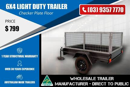 Cage Trailer - Checker Plate Floor - 6x4 Epping Whittlesea Area Preview