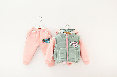 Toddler Girl 3PC Winter Outfit Set Elephant Costume Hooded+Gilet+ Trouser 1-4yrs (Toddler Girl Elephant Costume)