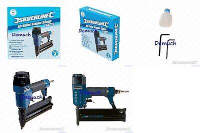 Silverline Aluminium Air Nailer Stapler Nail Gun Tacker 50mm Upholstery Craft