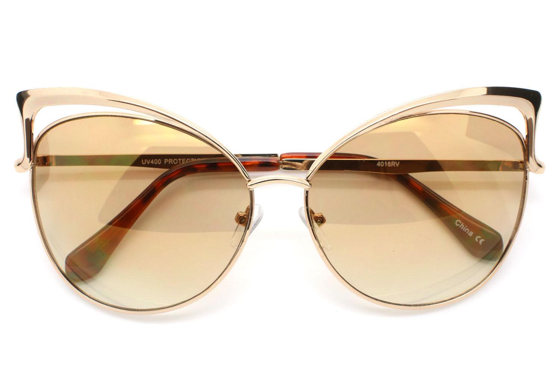 Large Big Cat Eye Women Sunglasses Mirrored Lens Fashion Style Metal Frame