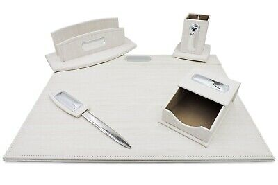 Office Supply Desk Set Of 5 Pieces White Ivory Eco-leather With Silver Plated I