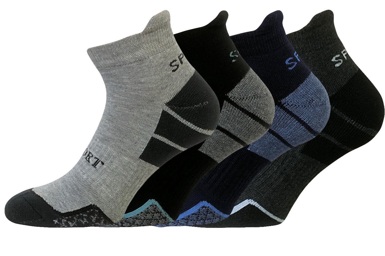 4 Paar Sportsocken Kurzschaftsocken Herren Quarter Socken Hochferse gepolstert