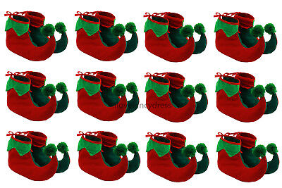 12 X ELF BOOTS PIXIE SHOES CHRISTMAS FANCY DRESS COSTUME GROUP GNOME XMAS - Christmas Group Costumes