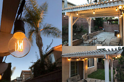 (Brightest 48FT LED Outdoor Waterproof Commercial Grade Patio String Light Bulbs )