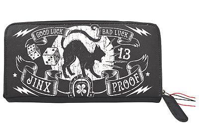 Liquorbrand Jinx Proof Halloween Black Cat Goth Luck Zip Around Clutch Wallet
