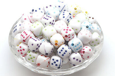 Wholesale 50pcs Mix Color dice Spacer Beads Jewelry Components Loose Beads 9*9m (Dice Beads)