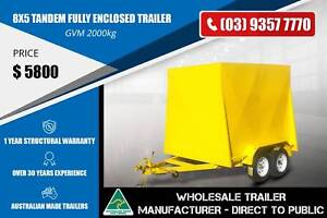 Fully Enclosed Trailer - 8x5 - Tandem Axle