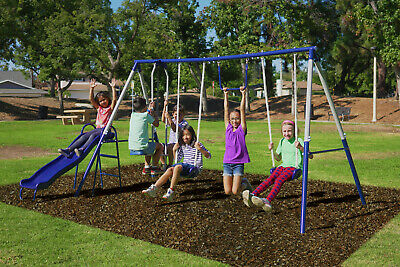 Childs Slide And Swing - Metal Swing Set with Wavy Slide, Trapeze and Flying Glider Back Yard Fun