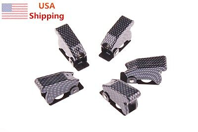 5pcs Sha7 Carbon Fiber Toggle Switch Waterproof Boot Safety Flip Cover Cap