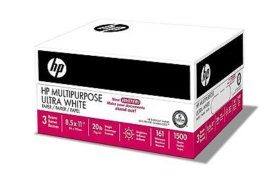 HP Printer Multipurpose Copy Paper 8.5 x 11 Letter 96 Bright - 1500 Sheet Carton