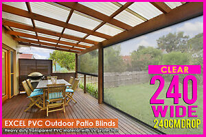 NEW  240CM X 240CM HEAVY DUTY PVC CLEAR PATIO CAFE BLIND Outdoor UV Awning