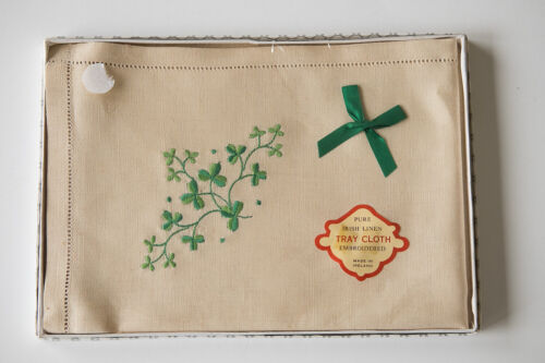 Vintage New Pure Irish Linen Embroidered Tray Cloth Shamrocks Cover Lucky