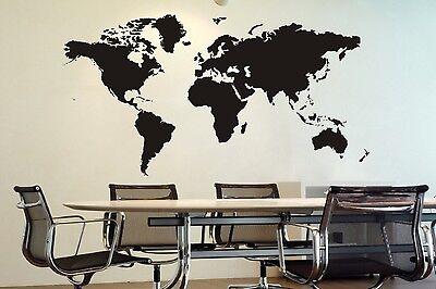 Wandtattoo Weltkarte Größe: 58 x 125 cm DEKO Wandaufkleber NEU FARBE: schwarz