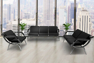 Business Waiting Room Chair Office Reception Guest Sofa Seat Vistor Bench Black