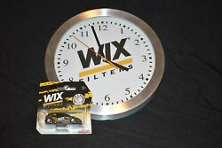 NEW WIX FILTERS 10 ROUND STAINLESS WALL CLOCK, GARAGE, MANCAVE w/New wix car