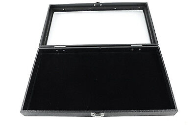 New Glass Top Black Pad Display Box Case For Jewelry Militaria Medals Pins
