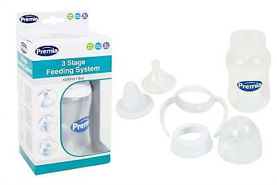 3250ml/8oz 3 Stage Baby Transition Feeding System Bottle Handles Soft Teat