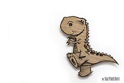Cute Dinosaur 1 Engraved Wood - Kids Nursery Room, Baby Room - Wall Clock