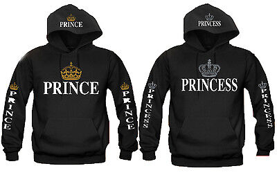 Prince and Princess Couple Matching HOODIE Sweatshirt Silver Golden Crowns S-5XL