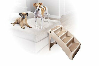 Small or Medium Dog Stairs Cat Bed Ladder Animal Foldable Steps WHITE BRANDNEW