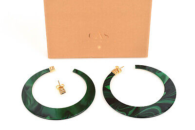 Gas Bijoux Nu green marble yellow gold plated malachite hoop earrings NEW $160