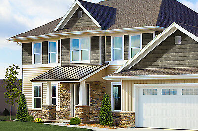 Vinyl Siding, RoughSawn Cedar Staggered EZ, Exteria, Tando, Lifetime Warranty ()