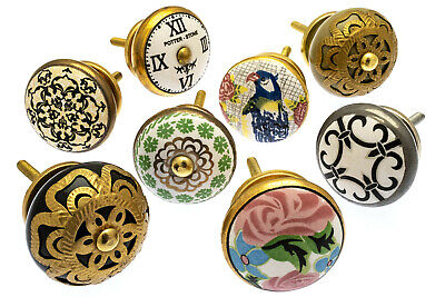 8 x Mixed Set of Shabby Chic Vintage Style Ceramic Cupboard Knobs (MANGO-145)