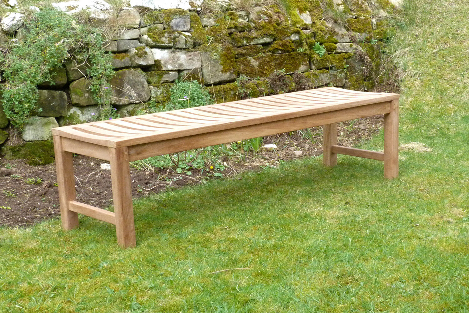 Picture of: 3 Seater Teak Wooden Garden Bench Outdoor Patio Seat Chair Backless Solid Wood Ebay