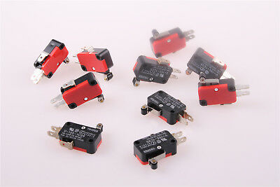 10pcs Spdt Momentary Limit Micro Switch V-155-1c25 Hinge Roller Lever Acdc 15a
