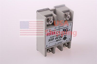 SSR-40DA 40A Solid State Relay DC-AC 3-32VDC 24-380VAC for Temp Controller Tool