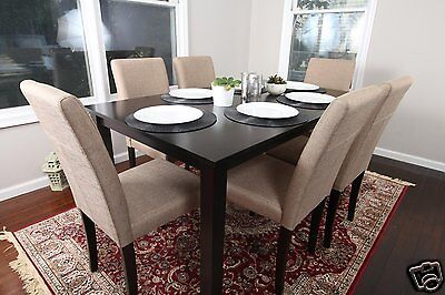 7pc Espresso Dining Room Kitchen Set Table 6 BROWN Fabric Parson Chairs 7 piece